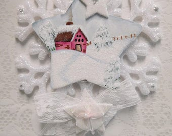 Peace, Wood Star Hand Painted Winter in the Country Cottage Scene,  White Snowflake with Star Accents Ornament, ECS