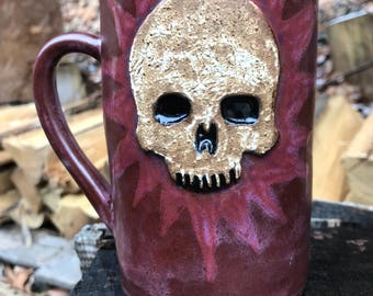 Ceramic Skull Mug in Purple