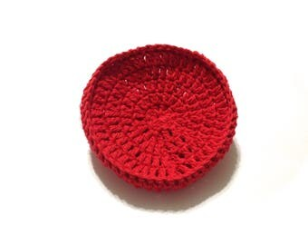 Red Crocheted Cotton And Nylon Netting Dish Scrubbie- Large