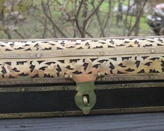 Vintage Brass and Wood Incense Coffin/ Burner - Incense/ Trinket Storage Box - Made In India