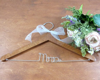 Handmade Wood Mrs Hangers - Mr Mrs - Mr and Mrs - Wooden - Wedding Hangers - Clothes Hangers - Bride Gift - Future Mrs - Dress Hanger - Gift