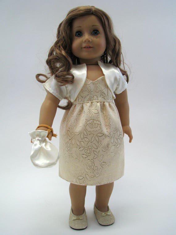 Gold Brocade Dress, Jacket and Purse - 18 Inch Doll Clothes