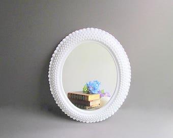 Vintage White Hobnail Mirror, Hanging Mirror, Nursery Mirror, Bedroom Bathroom Mirror, Lightweight Plastic Hobnail Mirror