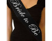 Black Bride to Be Sash, Bachelorette Sash