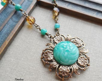 Antique Button Necklace, Glass Button, Jade Swirl Glass, Amazonite Beads, Antique Brass, Timeless Trinkets