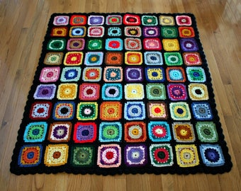 Crochet Granny Square Afghan Colorful 72 Squares / Throw Blanket