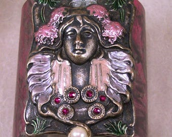 Mucha Muse Artisan Costume Jewelry Large Cuff Bracelet Art Nouveau Muted Pinks Altered Mixed Media Art Original OOAK Bold Brash Swag Couture