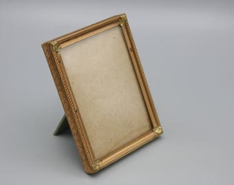 Vintage Embossed Metal Picture Frame With Convex Glass Floral Applique Corners