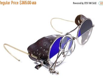Steampunk Goggles Antique Rare 2 Tone Steampunk Aviator Glasses Cobalt BLUE & Clear LEATHER Side Shield 2 Loupes Burning Man - by edmdesigns