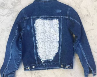 Women's Distressed Jean Jacket with Snake Print Denim Patches