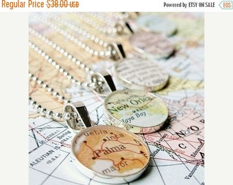 SUMMER SALE Vintage Map Sterling Silver Round Necklace.  You Select the Journey.  Gifts for Grandmothers