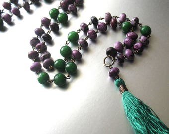 Long Beaded Tassel Necklace in Purple and Green