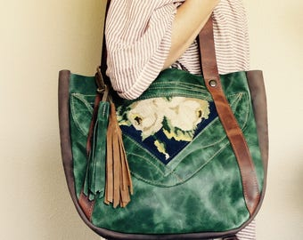 New////Vintage Cross Stitch and Mixed Leather Tote with Horween Leather Straps