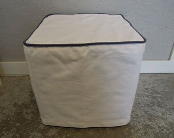 Custom Ottoman Slipcover with Embroidered Leaves Linen, 42x18x13