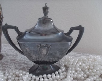 Wallace Bros.  Black silver footed sugar bowl with lid V 9632 Deco style