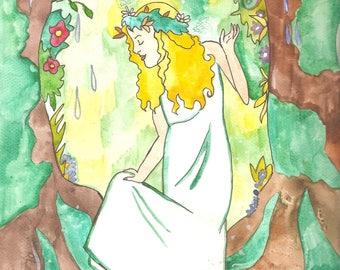 Goldberry Art Print Tolkien Inspired Art Tom Bombadill Middle Earth Illustration Nature Spirit Water Spirit Fantasy Art Watercolor Art Print