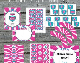 Ninja Printable Birthday Party | Pink Ninja Party Printables | Invite, thank you, water bottle labels, and more digital files | Invitation