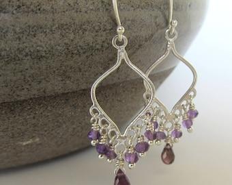 Amethyst Tourmaline Earrings, Purple Amethyst Earrings, Amethyst Earrings, Pink Tourmaline Earrings, Silver Earrings, February Birthstone