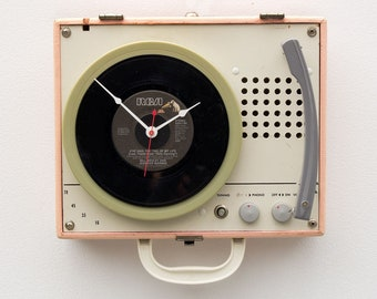 45 Record player clock, record album clock, music lover clock, Art Clock, upcycled large wall clock, repurposed Vintage antique clock,