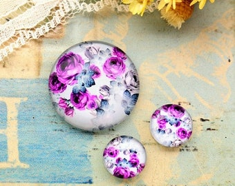 SALE - 30% OFF Vintage Purple Rose Glass Cabochon, 8mm 10mm 12mm 14mm 16mm 18mm 20mm 25mm 30mm Photo Glass Dome - RCH012C