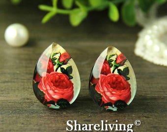 SALE - 30% OFF 4pcs 18x25mm Handmade Photo Teardrop Glass Cabs Cabochons -- BCH971T