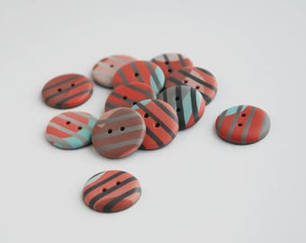22 mm striped multicolored handmade Buttons, Set of 12, Red brown green gray colors