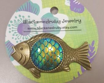 Scaled Bronze Fish Pin