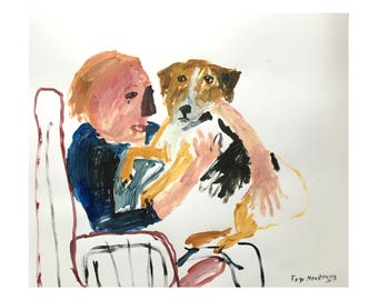 Original Faye Moorhouse painting - Man and Dog on a Chair 2 - free international shipping