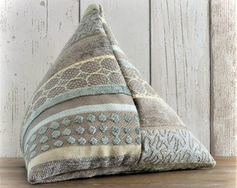Fabric Door Stop, Door Stopper in Sage Green, Brown & Gold Striped Fabric, Triangular, Pyramid Shape