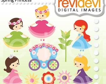 35% OFF SALE Princess clipart - Spring Princess - Digital cliparts