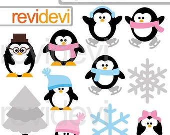 35% OFF SALE Cute penguins clipart - Winter clipart.. Penguin Family.. Digital clip art