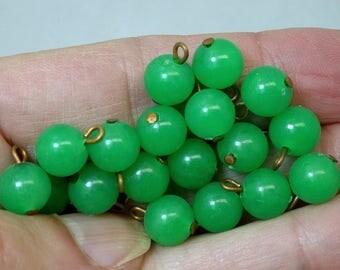 Vintage Green PLASTIC Dangle Beads Japanese 8mm pkg20 res357