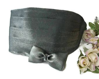Charcoal Gray Cummerbund Set , Solid Color Tuxedo Accessories , Formal Wear Bow Tie , Wedding Bowtie , Men's Prom Style , Gift for Dad