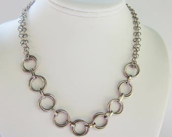 Sterling Silver Multi Open Circle Link Necklace - 1641D