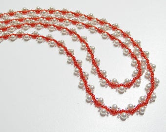 white and red pearl necklace, long necklace,pearl necklace, white pearl beaded necklace, handmade pearl necklace, wedding, bridesmaid gift