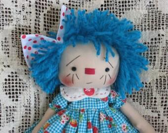 Blue/Turquoise Hair Annie * Primitive Raggedy*