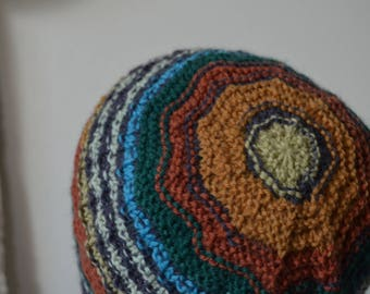 Rust Earflap Beanie—Lightweight Textured Hand Knit Hat in Sturdy Durable Yarn, Peacock Colors, Rust, Teal, Goldenrod, Green, Northside Hat