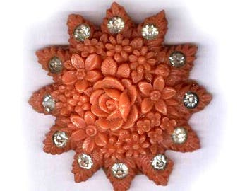 vintage carved celluloid FLORAL finding CORAL color rhinestone celluloid from JAPAN fancy carved celluloid findings bridal finding