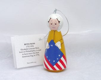 BETSY ROSS Ornament, hand painted on wood in USA