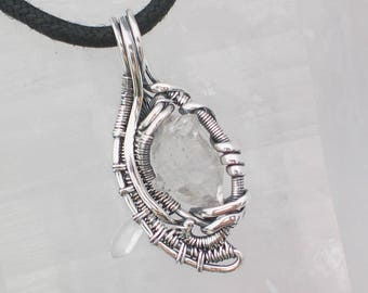 Quartz Crystal Pendant Quartz Crystal Cluster Wire Wrapped Jewelry Wire Wrapped Pendant Heady Wire Wrap Sterling Silver