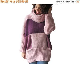 20% WINTER SALE NEW! Pink Tones Hand Knitted Sweater with Accordion Hood and Pocket Plus Size Over Size Tunic - Dress Sweater by Afra