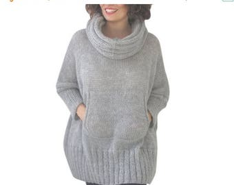 20% WINTER SALE Light Gray Hand Knitted Poncho with Accordion Hood and Pocket Plus Size Over Size Tunic - Dress by Afra