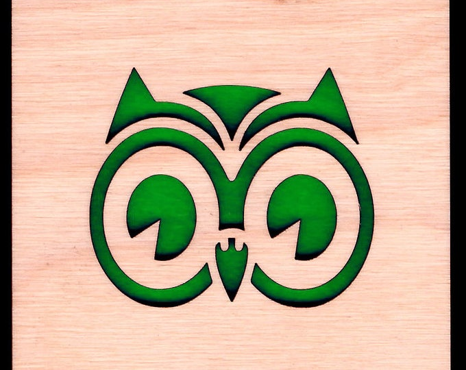 4 Owl Coasters wooden laser cut natural eco-friendly Waterproof plywood birch and Felt