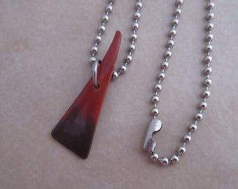 extreme unisex necklace stainless steel oxidized red grey copper