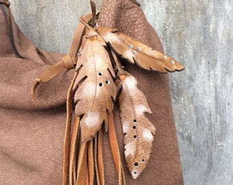 Handbag Zipper Charm - Leather Feather - Bag Embellishment - Leather Tassel - Leather Fringe - Boho Bohemian - Feathers - Stacy Leigh Bags