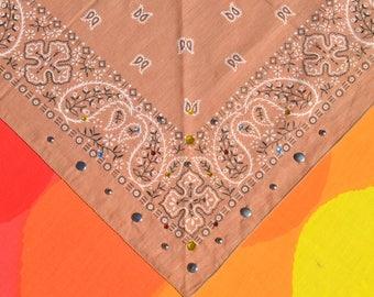 80s vintage bandana scarf RHINESTONE stud bedazzled brown wamcraft bandanna handkerchief paisley new