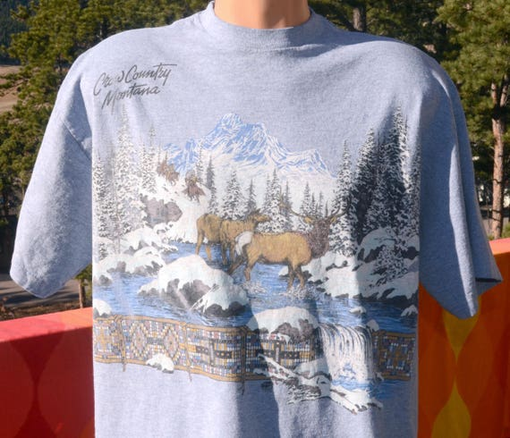 vintage 90s t-shirt MONTANA crow country elk native nature tee XL Large heathered