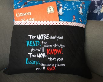 Reading pillow - Cat in the Hat fabric Reading Pillow - Book Pocket Pillow - Reading Gift - Gift for Reader Birthday Gift Idea