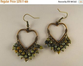 Memorial Day Sale La Luxe Amor. Unakite and Antique FInish Copper Heart  Drop Earrings