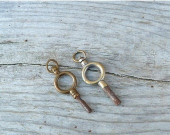 ON SALE Antique 1890/1900  French pocket watch keys / set of 2